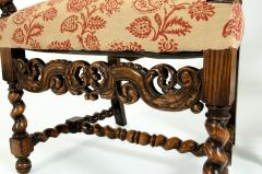 Pair Hand Carved Walnut Cane Back Armchairs Corner Chairs - 1125281