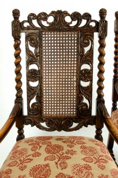 Pair Hand Carved Walnut Cane Back Armchairs Corner Chairs - 1125282