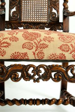 Pair Hand Carved Walnut Cane Back Armchairs Corner Chairs - 1125283