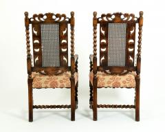 Pair Hand Carved Walnut Cane Back Armchairs Corner Chairs - 1125285