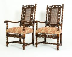 Pair Hand Carved Walnut Cane Back Armchairs Corner Chairs - 1125286