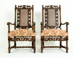 Pair Hand Carved Walnut Cane Back Armchairs Corner Chairs - 1125287