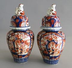 Pair Imari Ribbed Vases with Foo Dog Lids - 1003137