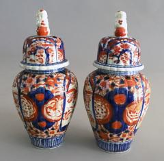 Pair Imari Ribbed Vases with Foo Dog Lids - 1003138