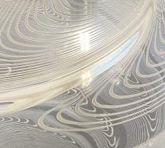 Pair Italian Modern White and Clear Handblown Glass Globe Chandelier Vistosi - 1747325