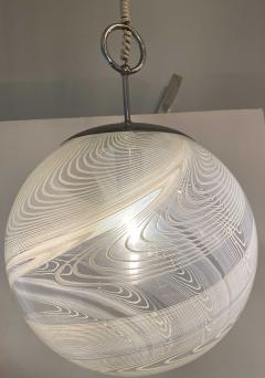 Pair Italian Modern White and Clear Handblown Glass Globe Chandelier Vistosi - 1747328
