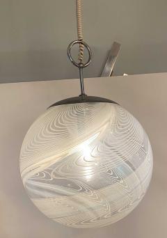 Pair Italian Modern White and Clear Handblown Glass Globe Chandelier Vistosi - 1747333