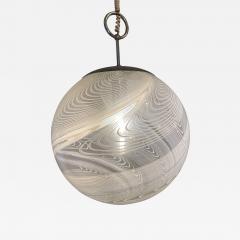 Pair Italian Modern White and Clear Handblown Glass Globe Chandelier Vistosi - 1750266