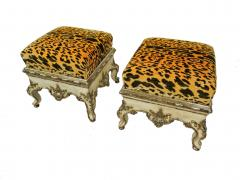Pair Italian Rococo Cream Painted and Silver Gilt Tabouret Rome mid 18th C  - 482450