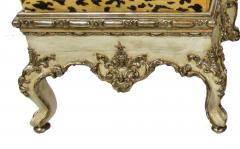 Pair Italian Rococo Cream Painted and Silver Gilt Tabouret Rome mid 18th C  - 503001