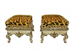 Pair Italian Rococo Cream Painted and Silver Gilt Tabouret Rome mid 18th C  - 503011