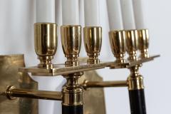Pair Large Mid Century Italian Brass Wall Lights - 2052082