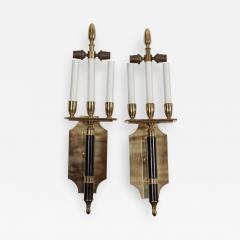 Pair Large Mid Century Italian Brass Wall Lights - 2053020