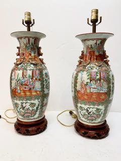 Pair Large Rose Canton Lamps Late Ching - 1893718