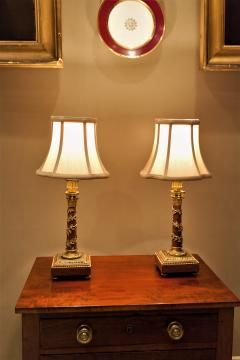 Pair Louis XVI Style Bronze Marble Candlestick Lamps Circa 1880 France - 1718561
