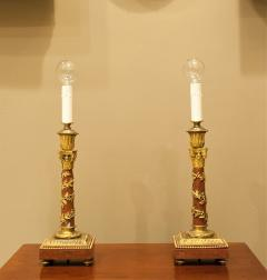 Pair Louis XVI Style Bronze Marble Candlestick Lamps Circa 1880 France - 1718567