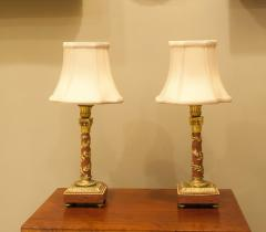 Pair Louis XVI Style Bronze Marble Candlestick Lamps Circa 1880 France - 1718579