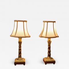 Pair Louis XVI Style Bronze Marble Candlestick Lamps Circa 1880 France - 1718765