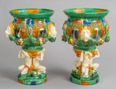 Pair Majolica Pedestal Jardinieres - 1198272