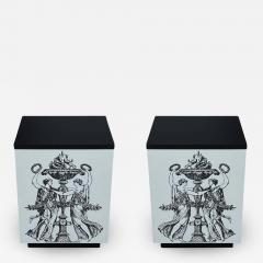 Pair Mid Century Italian Modern Storage Cube End Tables after Piero Fornasetti - 2064756