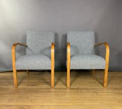 Pair Mid Century Lacquered Birch and Wool Armchairs - 1818984