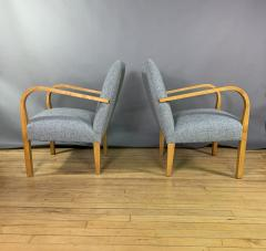 Pair Mid Century Lacquered Birch and Wool Armchairs - 1818985