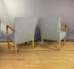 Pair Mid Century Lacquered Birch and Wool Armchairs - 1818989