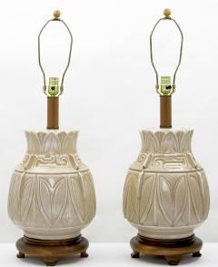 Pair Of Asian Urn Form Ceramic Craquelure Glazed Table Lamps - 89004