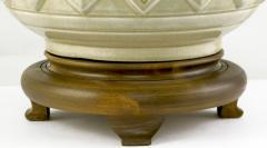 Pair Of Asian Urn Form Ceramic Craquelure Glazed Table Lamps - 89007