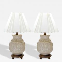 Pair Of Asian Urn Form Ceramic Craquelure Glazed Table Lamps - 92715