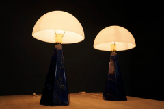 Pair Of Blue Marble Table Lamps with Glass Shades Italy 1970s - 1378528