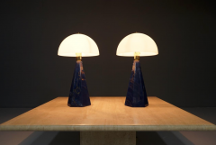 Pair Of Blue Marble Table Lamps with Glass Shades Italy 1970s - 1378529