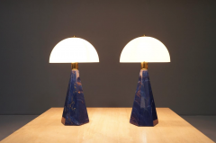 Pair Of Blue Marble Table Lamps with Glass Shades Italy 1970s - 1378530