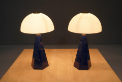 Pair Of Blue Marble Table Lamps with Glass Shades Italy 1970s - 1378531