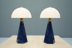 Pair Of Blue Marble Table Lamps with Glass Shades Italy 1970s - 1378533