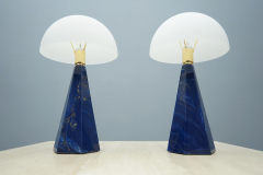 Pair Of Blue Marble Table Lamps with Glass Shades Italy 1970s - 1378536