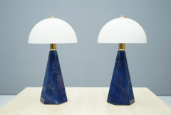 Pair Of Blue Marble Table Lamps with Glass Shades Italy 1970s - 1378538