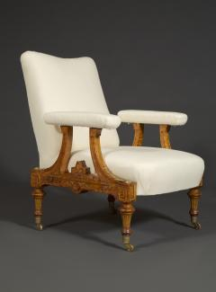 Pair Of Carved Birds Eye Maple And Gilt Brass Mounted Aesthetic Period Armchairs - 1908514