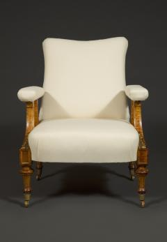 Pair Of Carved Birds Eye Maple And Gilt Brass Mounted Aesthetic Period Armchairs - 1908515
