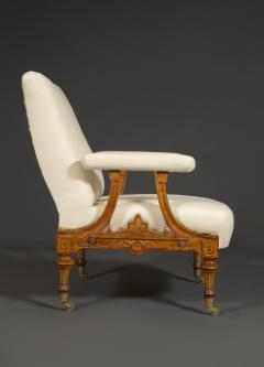 Pair Of Carved Birds Eye Maple And Gilt Brass Mounted Aesthetic Period Armchairs - 1908516