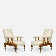 Pair Of Carved Birds Eye Maple And Gilt Brass Mounted Aesthetic Period Armchairs - 1909610