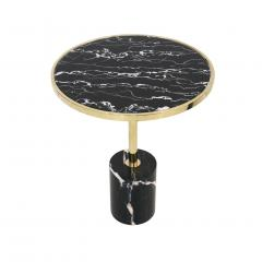 Pair Of Contemporary Marquina Marble Glass Brass Side Italian Tables - 1630073