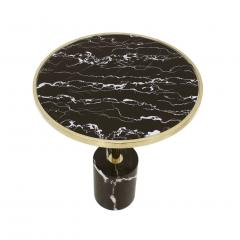 Pair Of Contemporary Marquina Marble Glass Brass Side Italian Tables - 1630074