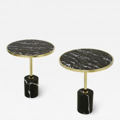 Pair Of Contemporary Marquina Marble Glass Brass Side Italian Tables - 1636121