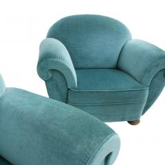 Pair Of Dec Style Blue Velvet French Armchairs France 20s - 1492814