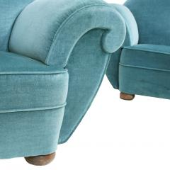 Pair Of Dec Style Blue Velvet French Armchairs France 20s - 1492815