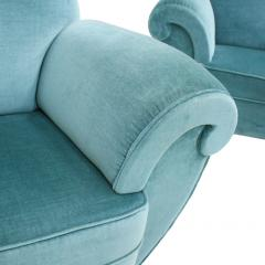 Pair Of Dec Style Blue Velvet French Armchairs France 20s - 1492816