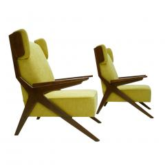 Pair Of Italian Armchairs In The Style Of Gianfranco Frattini - 1436336