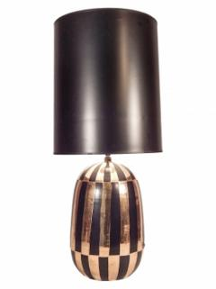 Pair Of Mid Century Black and Gold Ceramic Table Lamps - 1590958