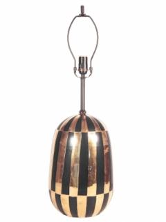Pair Of Mid Century Black and Gold Ceramic Table Lamps - 1590959